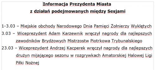 Informacja prezydenta o działaniach między sesjami 03.2019